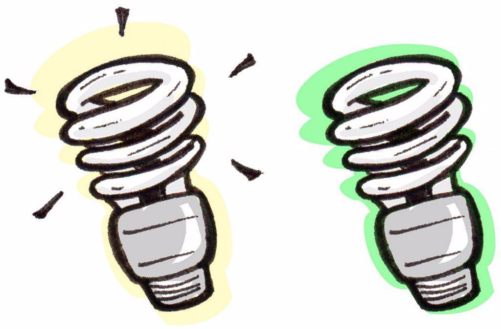 An illustration of energy efficient light bulbs : Stock Photo