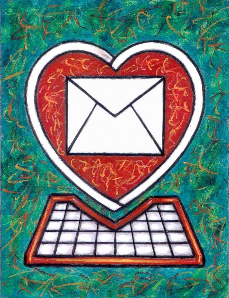 Stock Photo: 1538R-64919 An illustration depicting a computer shaped like a heart with a large envelope on the screen