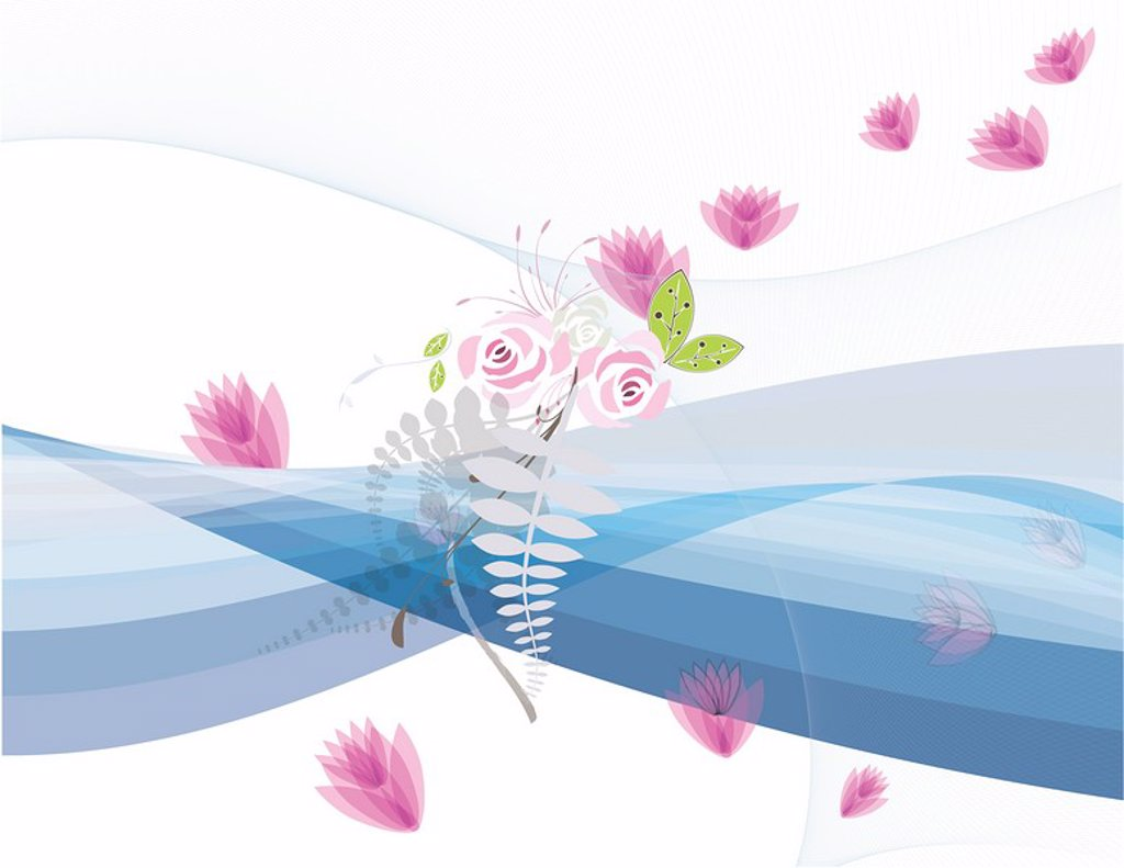 Stock Photo: 1538R-65135 A montage of pink flowers, branches of linear leaves and waves of water scattered across the canvas