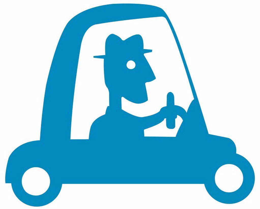 Stock Photo: 1538R-65373 Man driving car