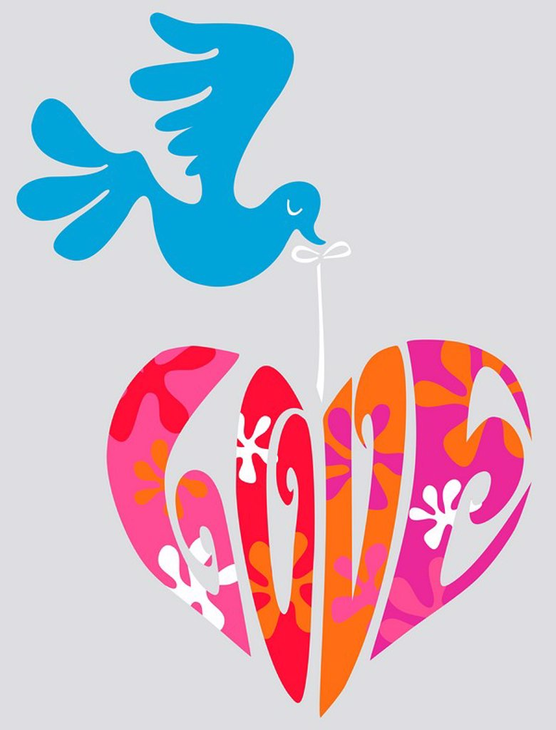 A bird flying with a heart spelling the word Love : Stock Photo