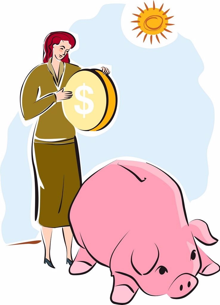 A woman putting a large coin into a piggy bank : Stock Photo