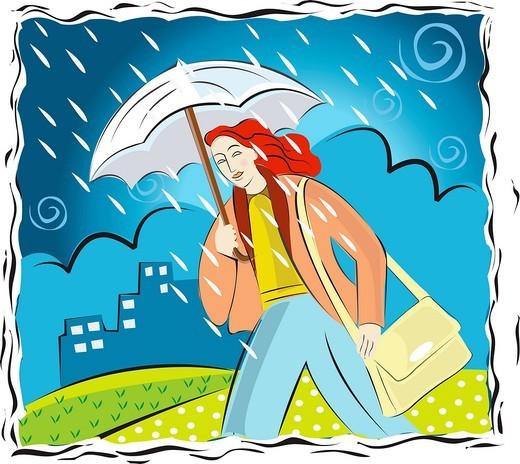 A woman caught in the rain under an umbrella : Stock Photo