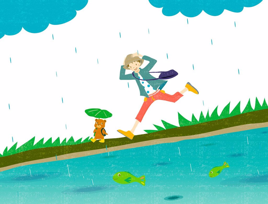 Illustration of a young boy and teddy bear running in the rain : Stock Photo