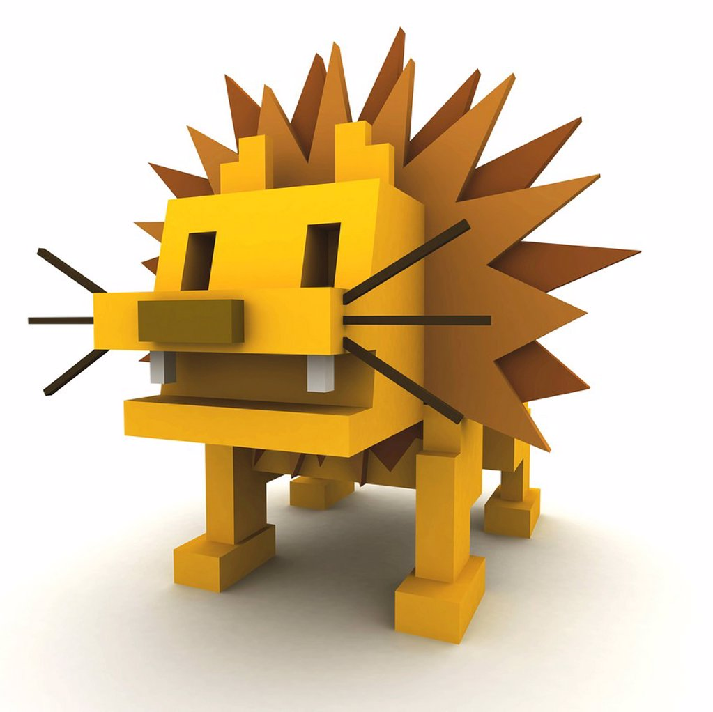 A 3D style image of a lion : Stock Photo