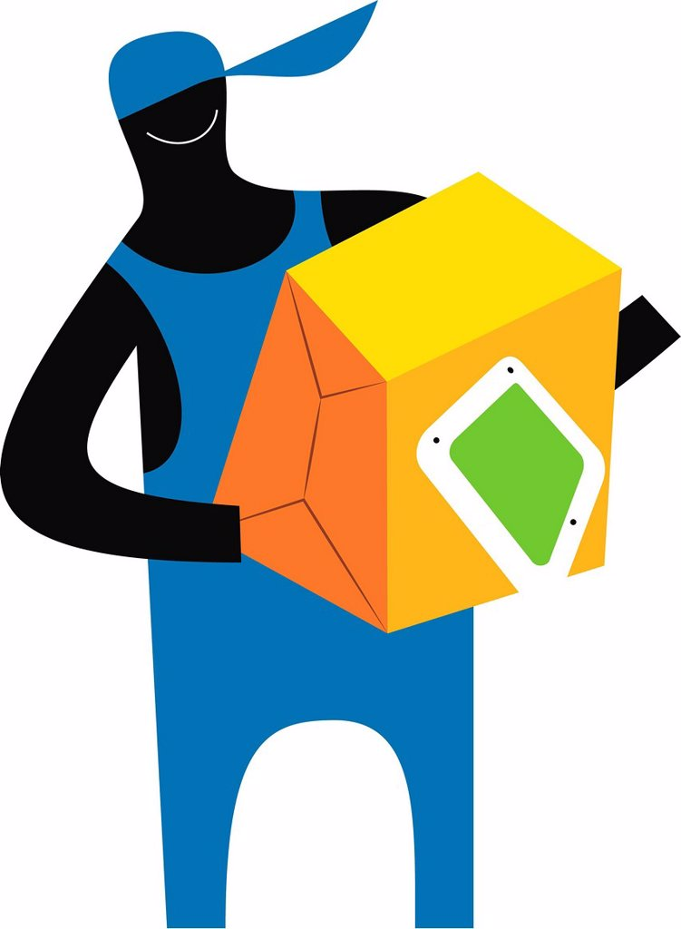 Illustration of a figure carrying a box : Stock Photo