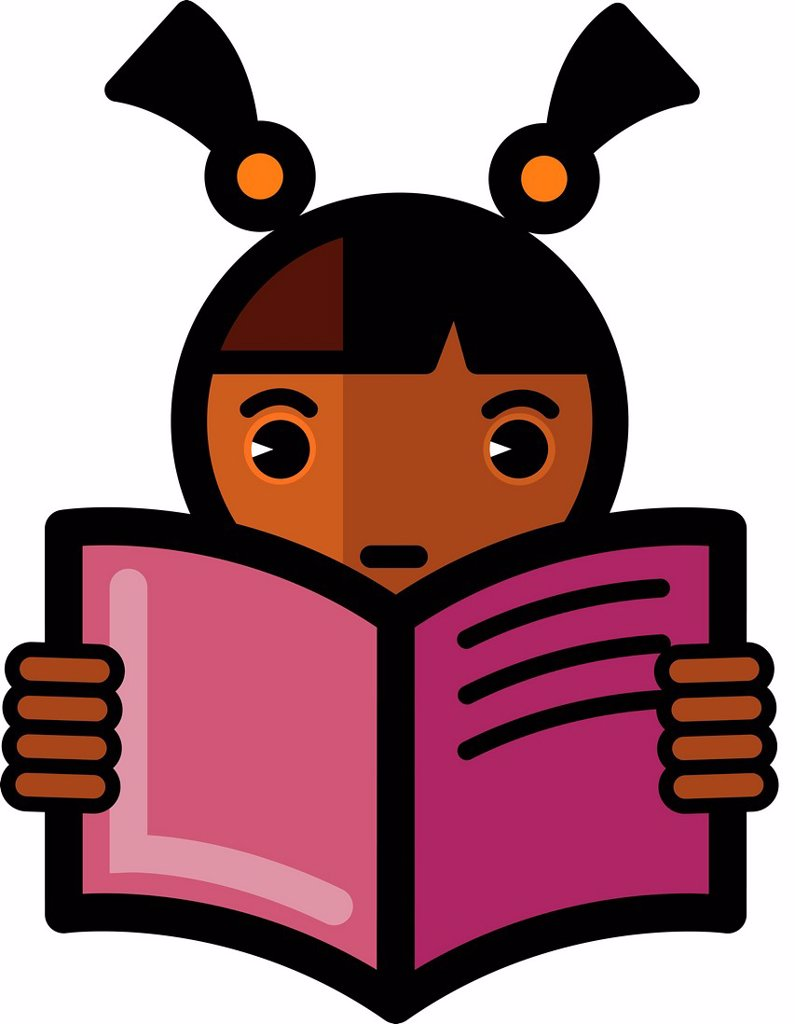 Illustration of a girl with pigtails reading : Stock Photo