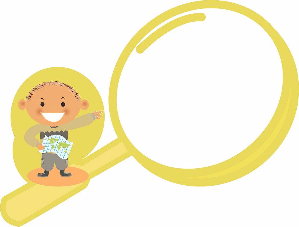 A boy pointing to a magnifying glass : Stock Photo