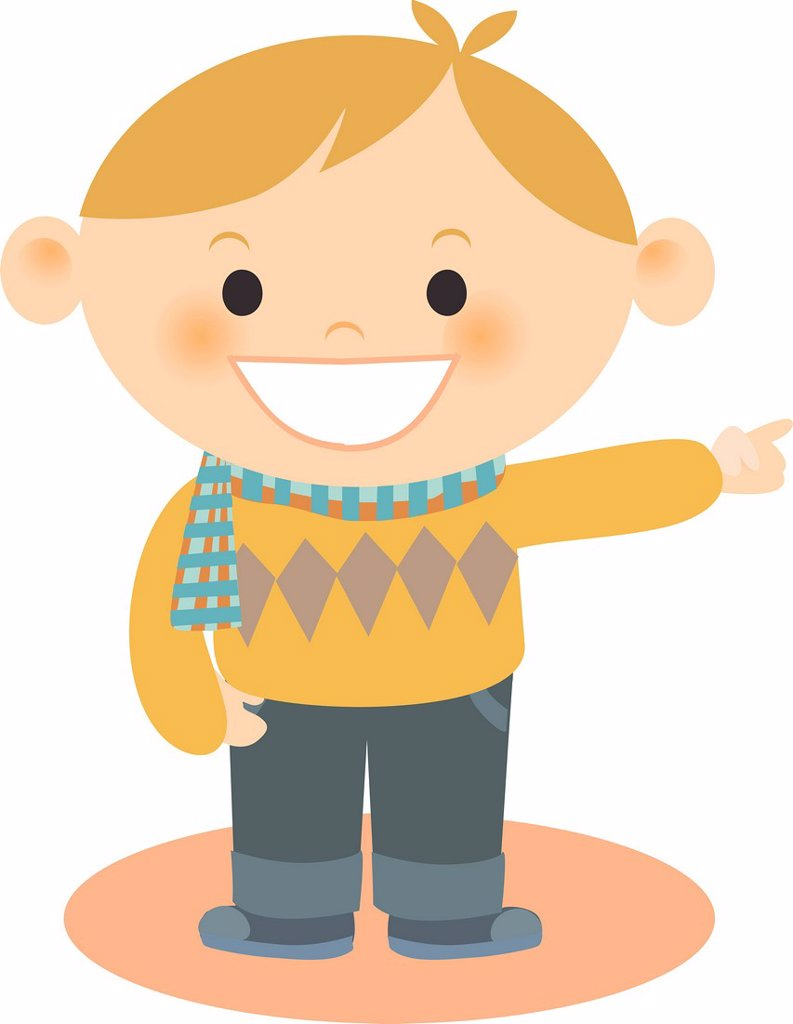 A boy wearing an argyle sweater pointing : Stock Photo