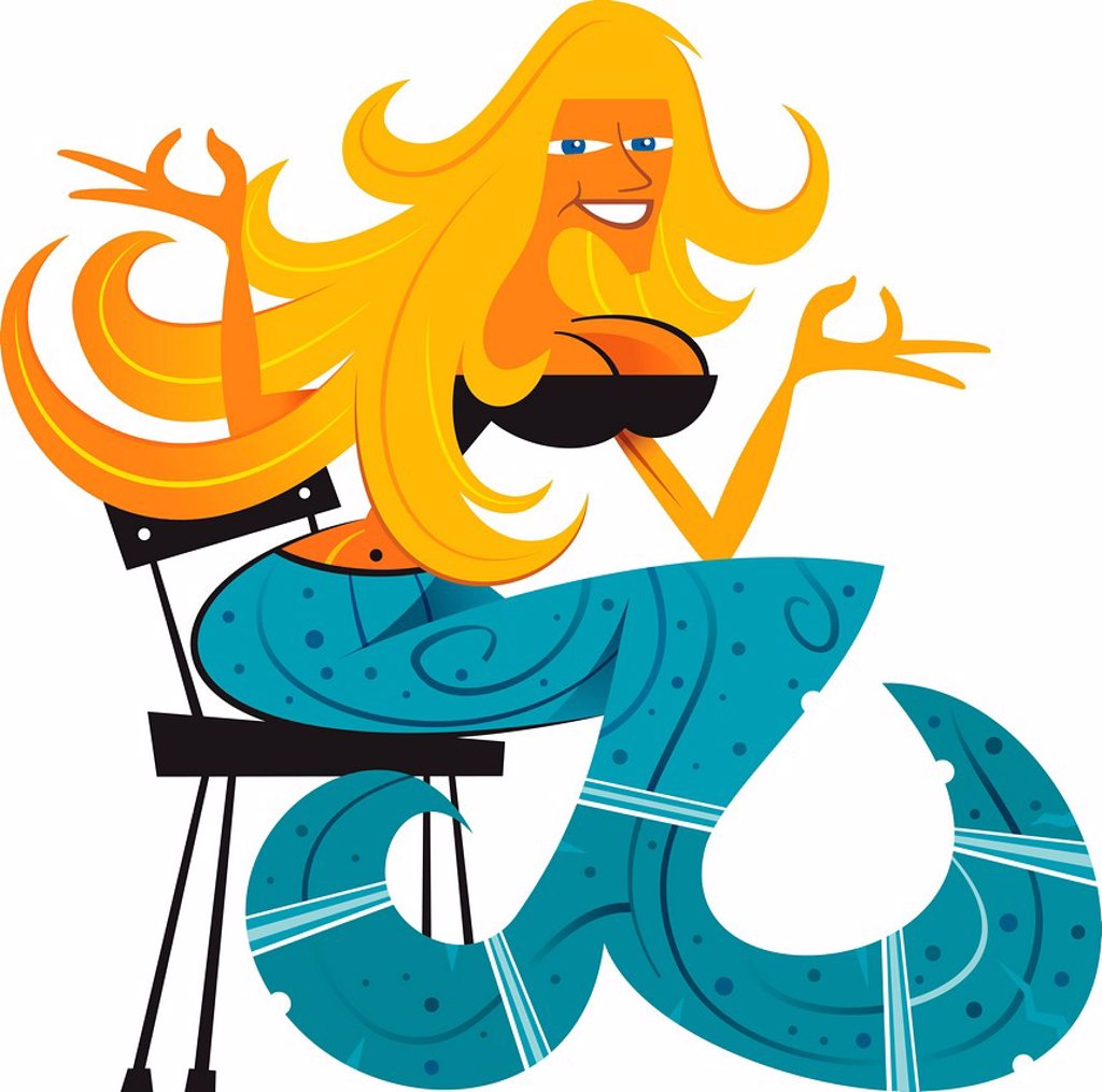 Stock Photo: 1538R-68886 A mermaid on a chair