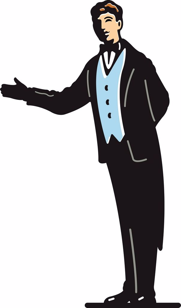 A butler pointing in a direction : Stock Photo