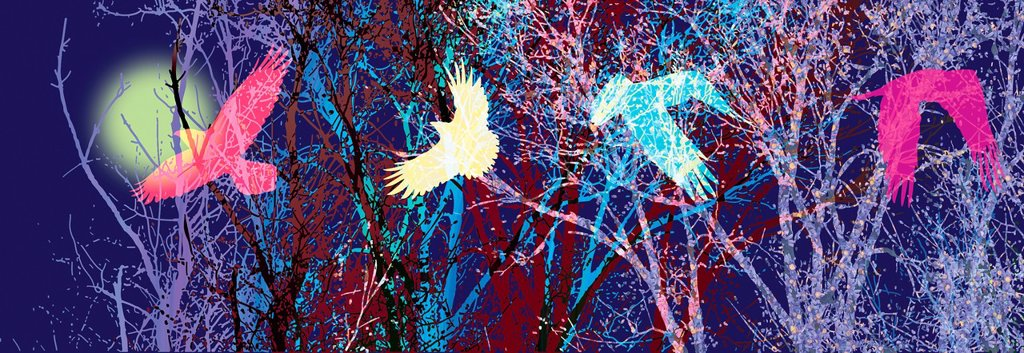 Stock Photo: 1538R-69218 Silhouettes of tree branches in various colors and a bird in flight