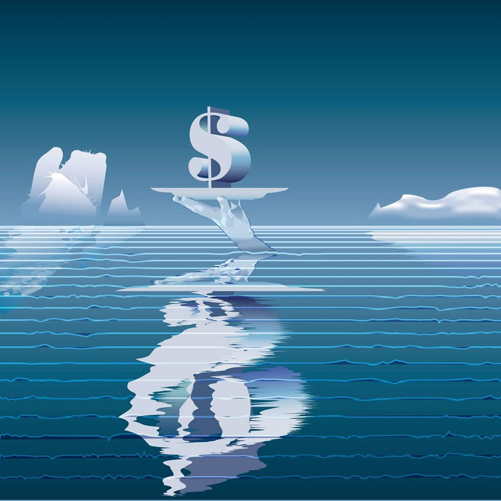 An iceberg shaped like a hand holding a dollar sign : Stock Photo