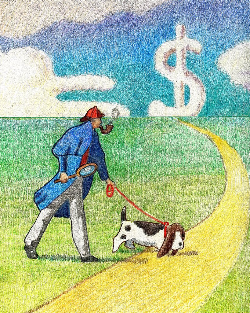 A detective with a dog walking down a path : Stock Photo