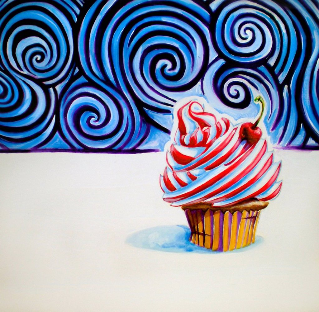 Stock Photo: 1538R-69417 Cupcake with a cherry on top