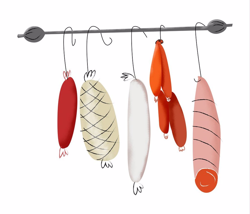 Stock Photo: 1538R-69583 Hanging cured meat