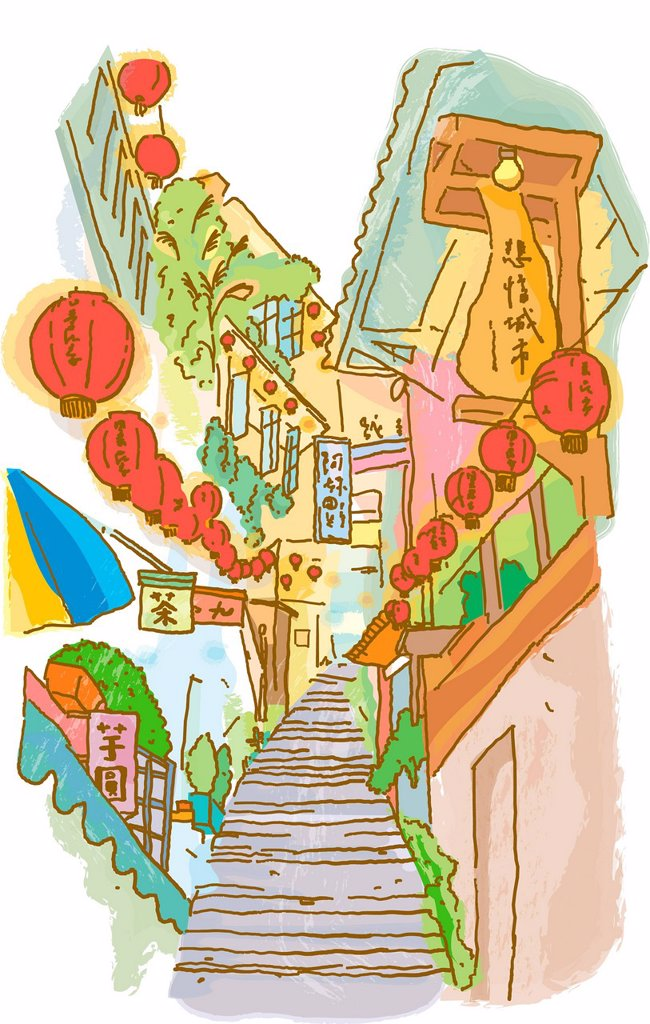 Stairs between buildings that have Chinese lanterns hanging from them in Jiufen, Taipei : Stock Photo