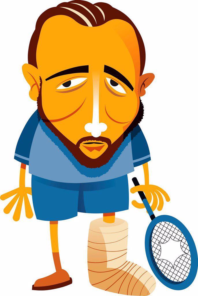 Stock Photo: 1538R-70119 A man with a broken foot holding a broken tennis racket