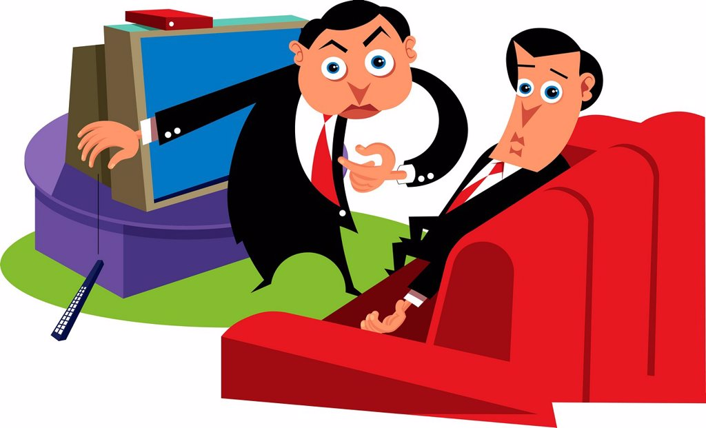 Two businessmen in a living room : Stock Photo