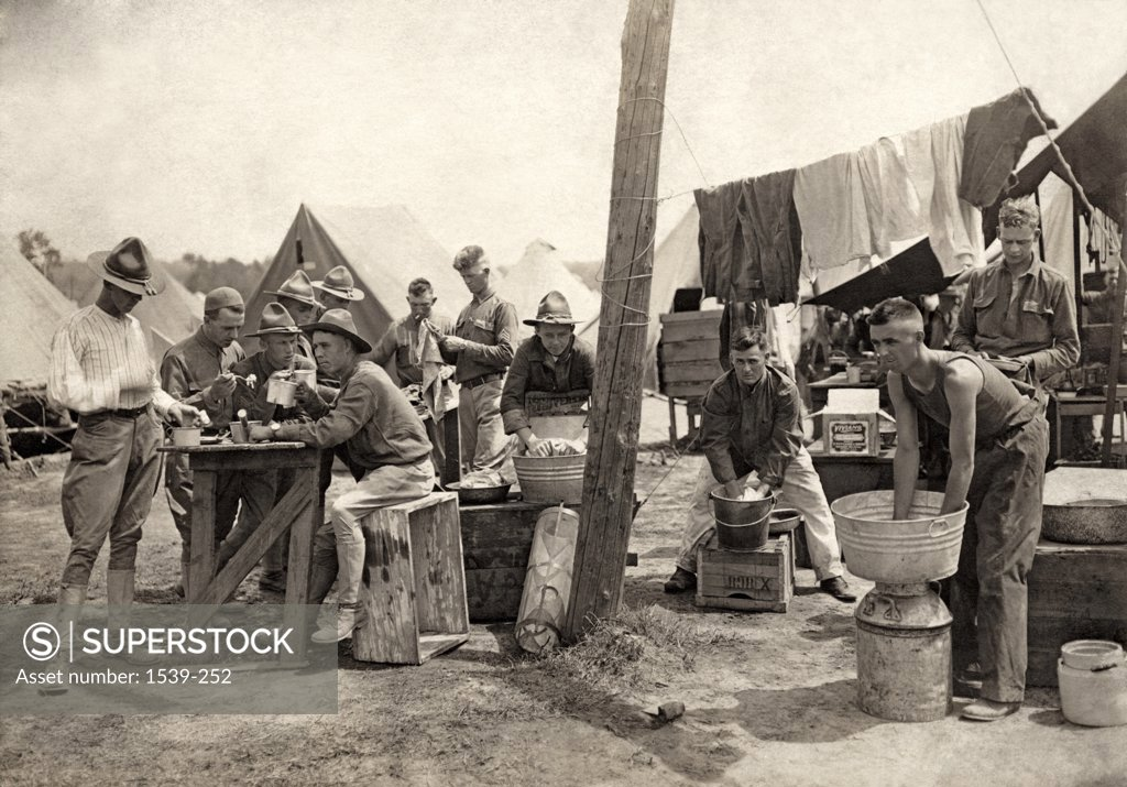 Stock Photo: 1539-252 American soldiers at a military camp during World War I, c.1917