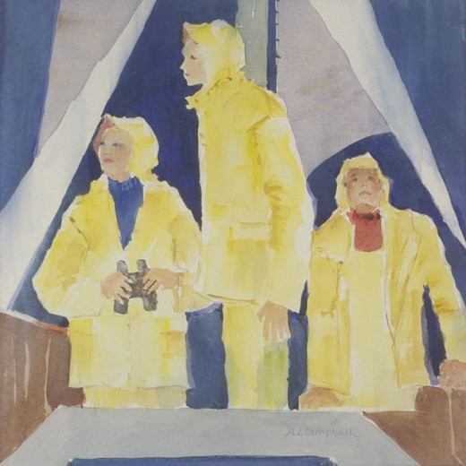 Night Watch 2005 Margie Livingston Campbell (20th C. American) Watercolor : Stock Photo