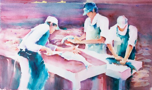 Stock Photo: 1543-163 Fish Market Margie Livingston Campbell (20th C. American) Watercolor Private Collection
