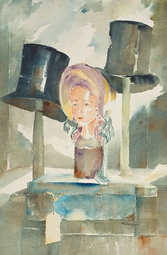 Antique Shop, Margie Livingston Campbell, (b.20th C./American), Watercolor : Stock Photo