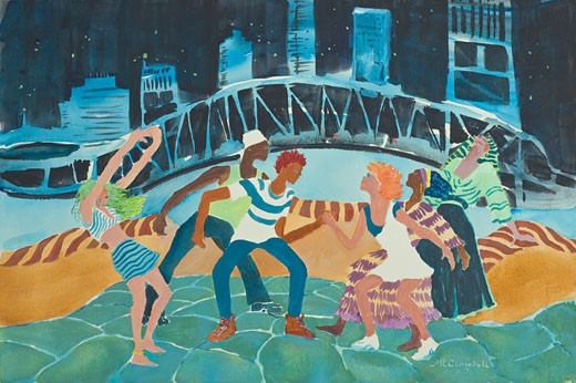 Stock Photo: 1543-193 Jazz in the River City, Margie Livingston Campbell, (b.20th C./American), Watercolor
