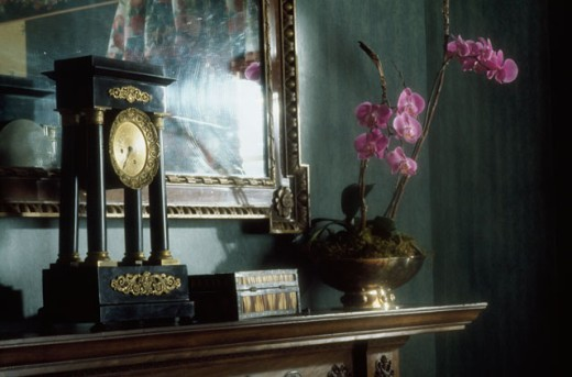 Stock Photo: 1545-178 Close-up of a clock with a flower vase on a mantelpiece