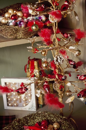 Stock Photo: 1545-201 Close-up of Christmas ornaments hanging on a Christmas tree