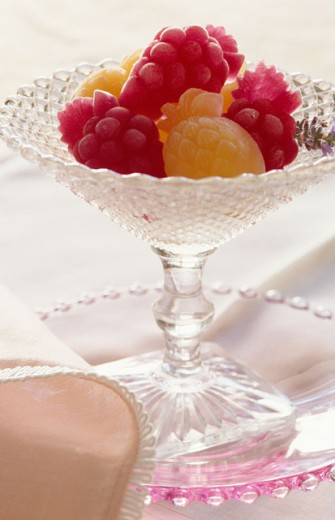 Close-up of fruit shaped candy on a platter : Stock Photo