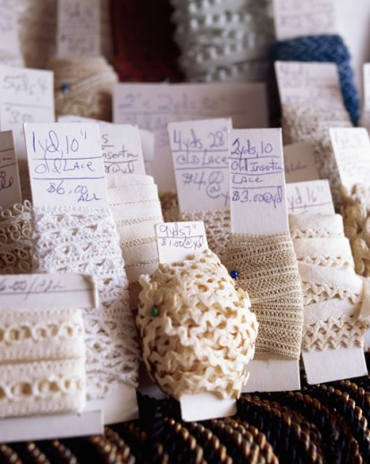 Stock Photo: 1545-332 Close-up of rolls of lace with price tags