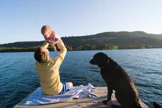 Stock Photo: 1546-740 Rear view of a young man sitting on a pier and picking up his daughter, Donner Lake, California, USA