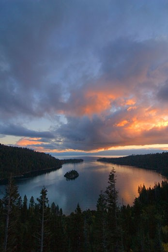 Clouds over a lake, Emerald Bay, Lake Tahoe, California, USA : Stock Photo