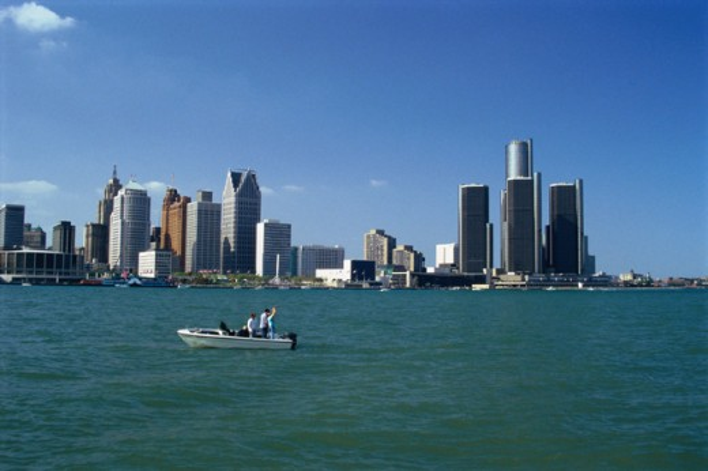Stock Photo: 155-1101B Buildings at waterfront, Detroit River, Renaissance Center, Detroit, Michigan, USA