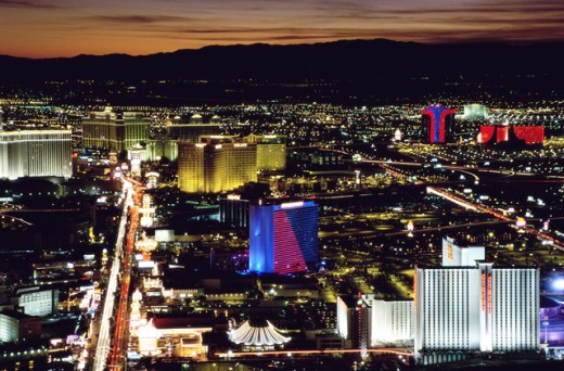 Stock Photo: 155-1483B High angle view of a city lit up at dusk, Las Vegas, Nevada, USA