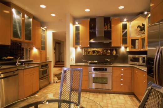 Stock Photo: 155-1486 Interiors of a domestic kitchen