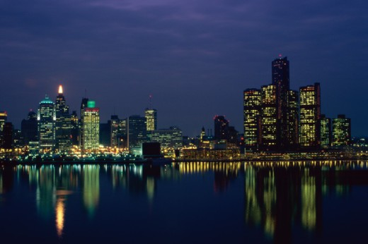 Reflection of buildings in water, Detroit River, Detroit, Michigan, USA : Stock Photo