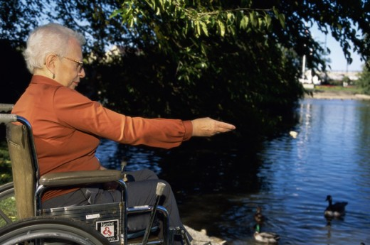 Side profile of a senior woman in a wheelchair : Stock Photo