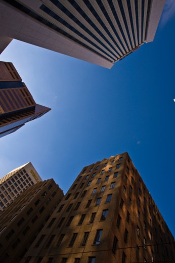 There are many tall buildings in the downtown area. : Stock Photo