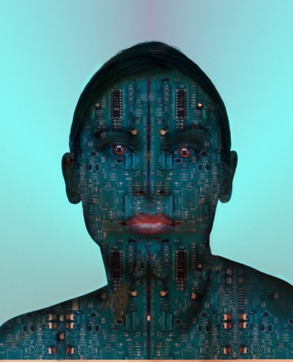 Woman covered in circuits : Stock Photo