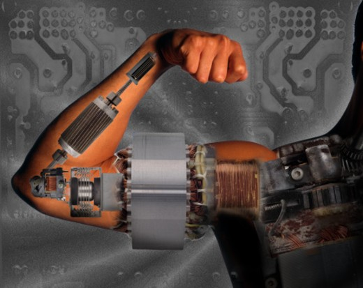 Arm covered in circuits : Stock Photo