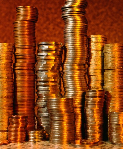 Stock Photo: 1555R-121005 Piles of coins