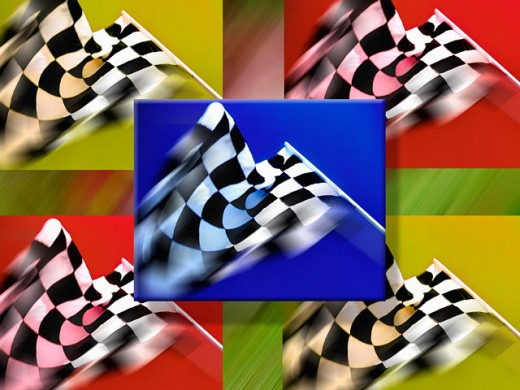Waving checkered flags : Stock Photo