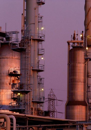 Petroleum refinery in the evening : Stock Photo