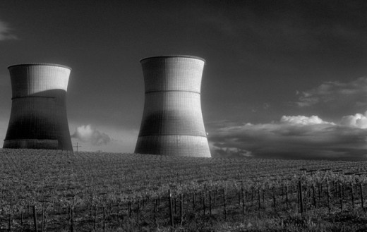 Stock Photo: 1555R-132043 Nuclear power plant in vineyard
