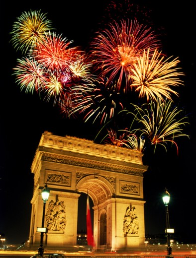 Stock Photo: 1555R-143037 Fireworks over the Arc de Triomphe