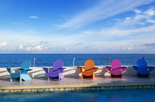 Colorful seaside deck chairs, Nassau, Bahamas : Stock Photo