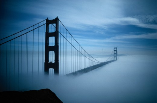 Golden Gate Bridge in fog, San Francisco, California : Stock Photo
