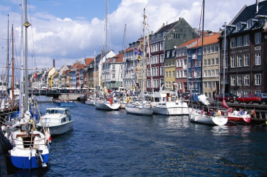 Stock Photo: 1555R-160026 Boats in Copenhagen, Denmark